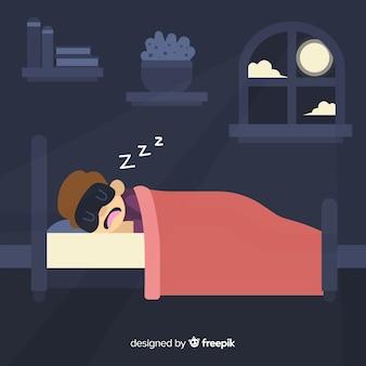 Person, die im betthintergrund schläft