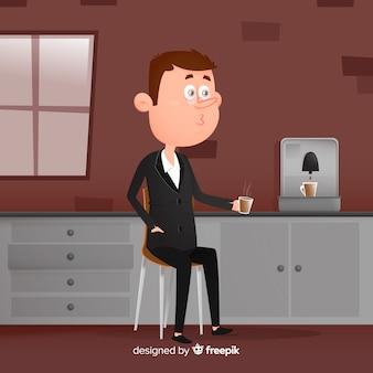 Person, die im café sitzt