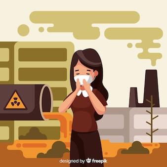 Person, die in einer stadt voller umweltverschmutzung lebt