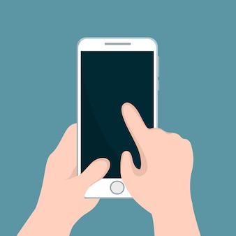 Person, die mobiltelefon hält und mit seiner hand zeigt