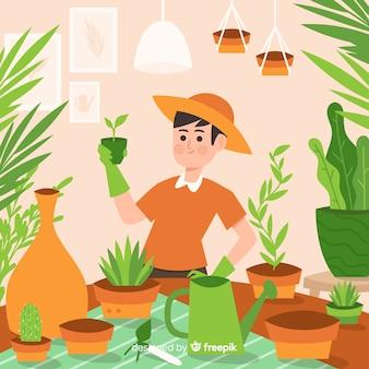 Person, die sich um pflanzen kümmert