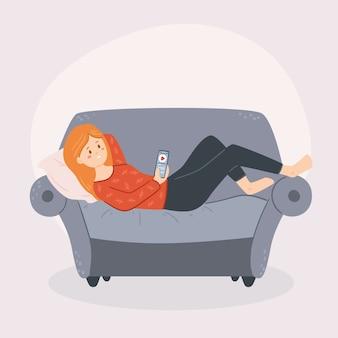 Person, die sich zu hause illustration entspannt