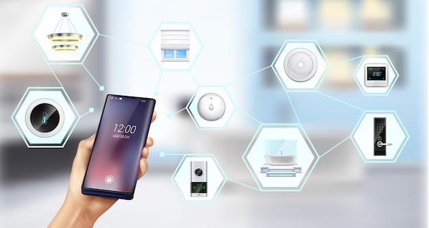 Person, die smart home mit smartphone steuert