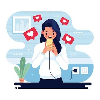 Person, die süchtig nach social media ist