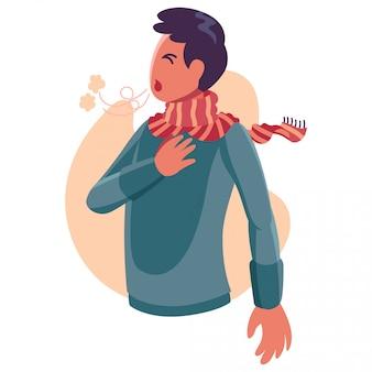 Person fühlt sich schwer zu atmen - flache charakterillustration