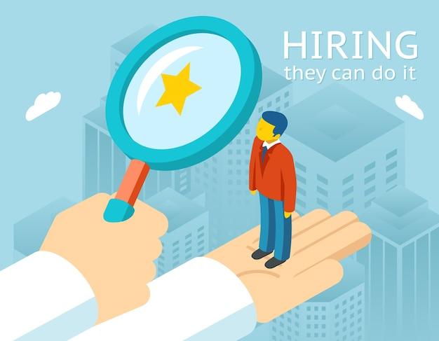 Person für die einstellung auswählen. arbeit und personal, personal und rekrutierung, auswahl von personen, ressourcen und rekrutierung. vektorillustration