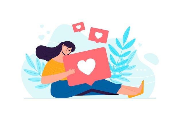 Person gewöhnt zum social media-illustrationsthema