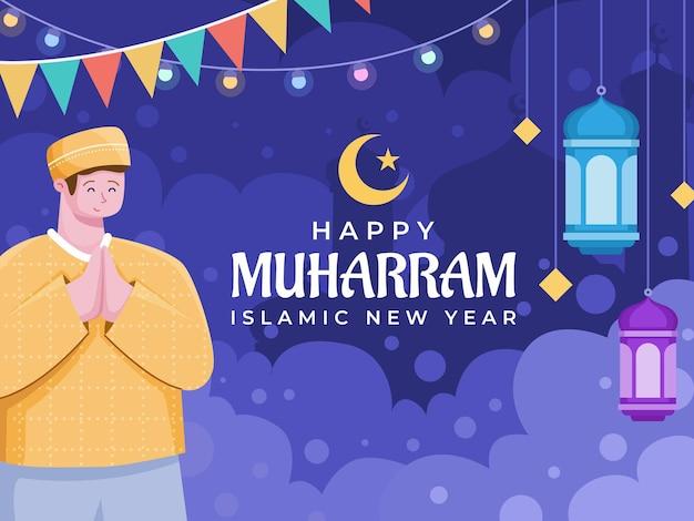 Person grüßt glücklich 1 muharram islamisches neues jahr illustration frohes neues hijri jahr