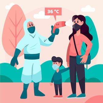 Person im schutzanzug, die die temperatur im park überprüft