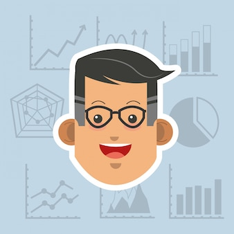 Person in Anzug mit Business-verwandten Ikonen Bild