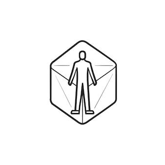 Person in der virtuellen realität 360 grad handgezeichnetes umriss-doodle-symbol. konzept. 3d-konzept der digitalen welt