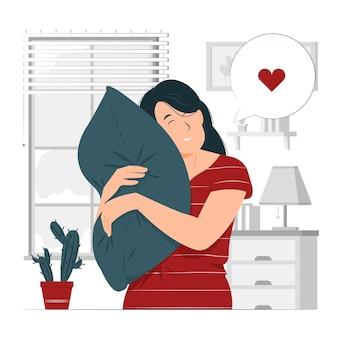 Person, mädchen, eine frau faul, schläfrig stützt sich auf eine weiche kissenkonzeptillustration