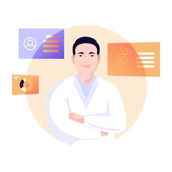 Person mit dna-flache illustration des genetikers