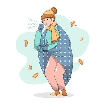 Person mit einer erkältung, die eine decke hat