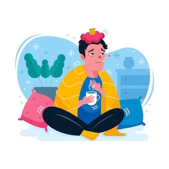 Person mit einer erkältung drinnen mit tee