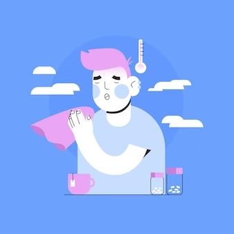 Person mit einer erkältung mit tee und pillen