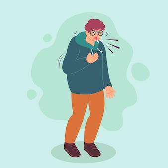 Person mit erkältung und husten