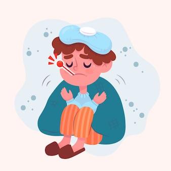 Person mit erkältung und thermometer