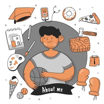 Person mit hobbys und interessen dargestellt