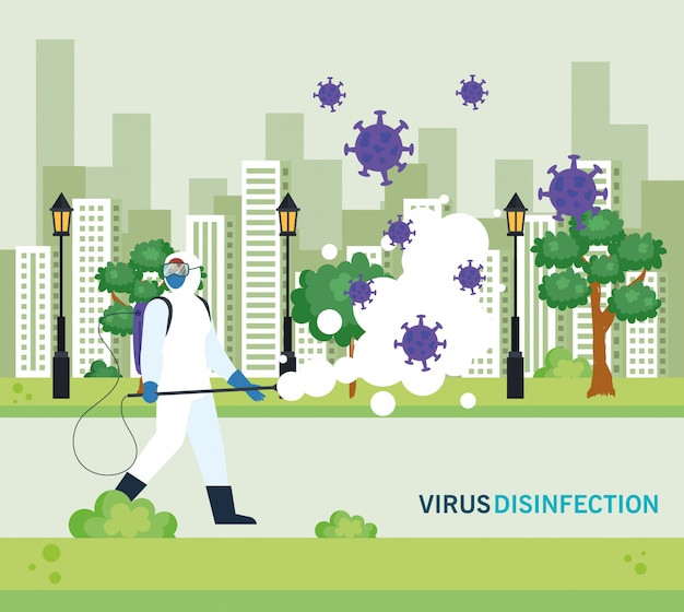 Person mit schutzanzug zum versprühen des covid-19 in der stadt, desinfektionsvirus-konzept