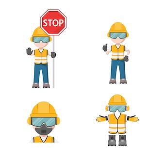 Person mit seiner persönlichen schutzausrüstung mit arbeitsschutz-stopp-symbol