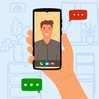 Person ruft jungen mann durch online-video auf smartphone zu hause an. konzept bleiben sie zu hause und rufen sie ihren freund oder liebhaber aus der videokarte an. hand gezeichnete illustration auf blauem hintergrund mit möbeln