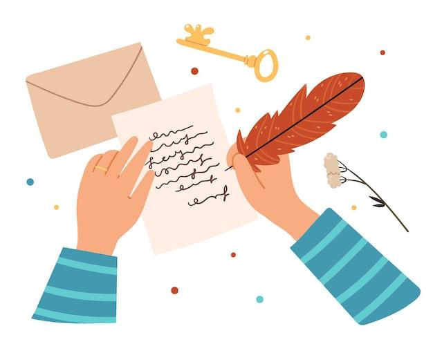 Person schreibt einen brief mit einem vogelstift.