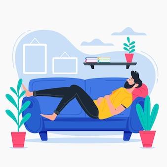 Person zu hause entspannen