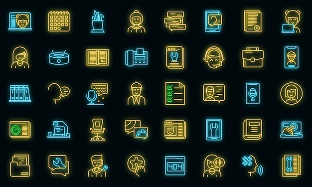 Personal assistant icons set vektor neon