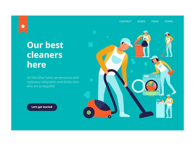 Personal des reinigungsdienstes während des haushalts arbeitet webbanner auf türkisfarbener flacher illustration