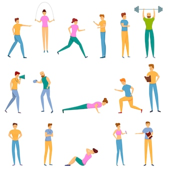 Personal trainer icons set, cartoon-stil