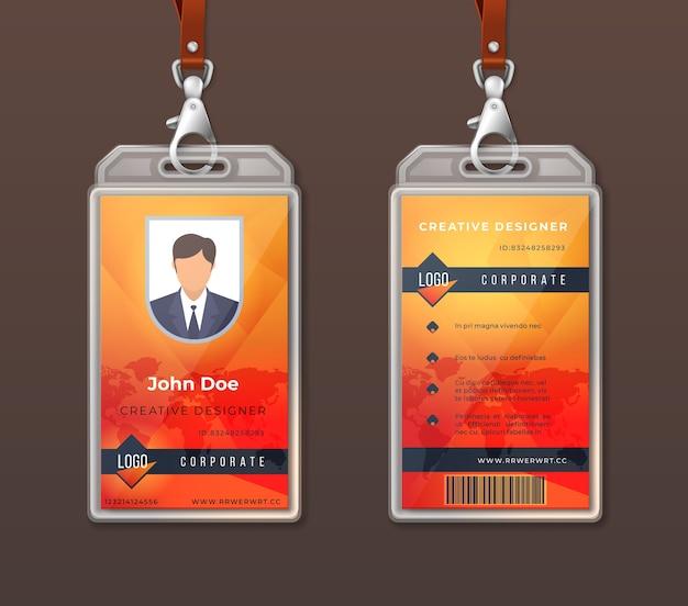 Personalausweis corporate identity. entwurfsvorlage für mitarbeiterzugriffsausweise, layout des büroidentifikationsetiketts.