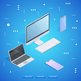 Personalcomputer, laptop, tablet und smartphone.
