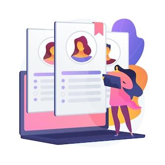 Personalmanagement. jobanalyse, beschaffung, screening und auswahl. weibliche zeichentrickfigur liest bewerbungen und lebenslauf von kandidaten.