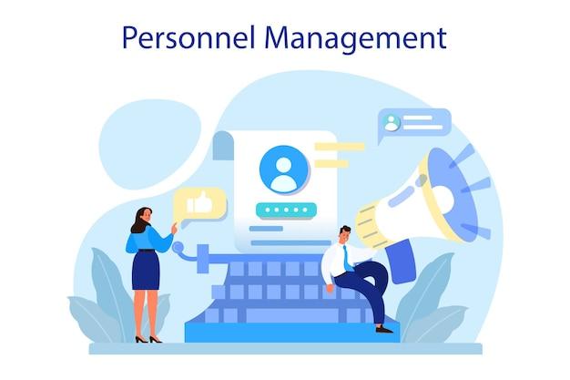 Personalmanagement-konzept. rekrutierung von unternehmen und anpassung von mitarbeitern. hr-manager stellt neuen mitarbeiter ein. personalmanagement.