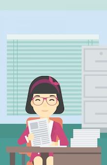 Personalmanager, der dateivektorillustration überprüft.