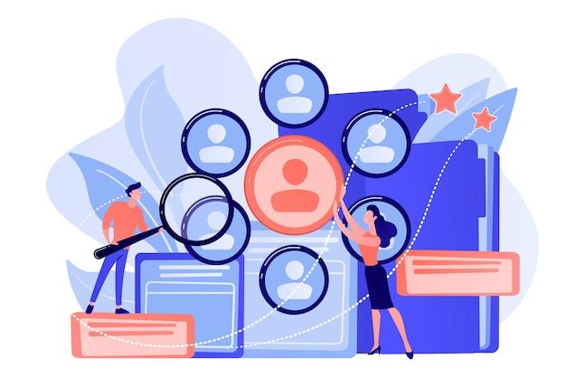 Personalmanager, die professionelle personalforschung mit lupe betreiben. personal, hr-teamarbeit und illustration des headhunter-service-konzepts