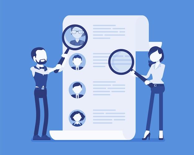 Personalmanager suchen mitarbeiter. männliche und weibliche arbeitnehmer des recruiting-service mit lupe auf der suche nach dem besten kandidaten-lebenslauf, personalvermittlungsagentur. vektorillustration, gesichtslose charaktere