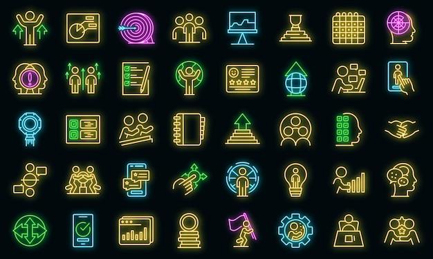 Personalsymbole gesetzt. umrisse von human resources vektorsymbolen neonfarbe auf schwarz