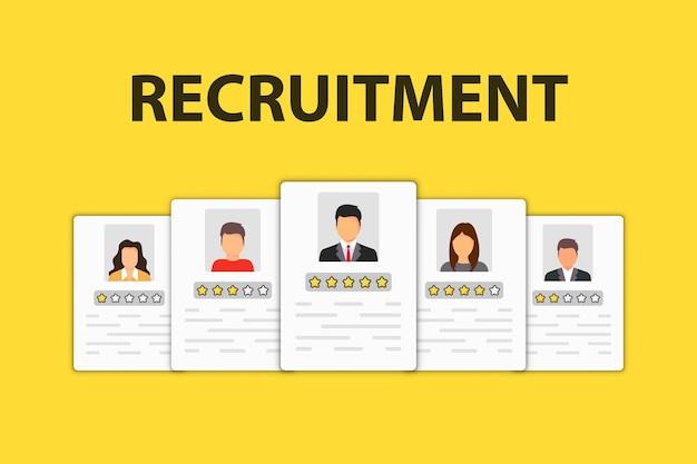 Personalwesen-symbol. rekrutierungssymbol. jobsuche und human resource, rekrutierungskonzept. wir stellen ein einstellungs- und einstellungskonzept für webseite, banner, präsentation ein.