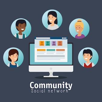 Personen-community-profil mit social chat