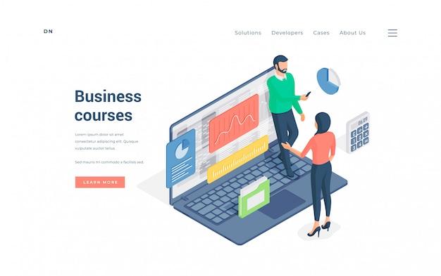 Personen, die an business-kursen im internet teilnehmen. illustration