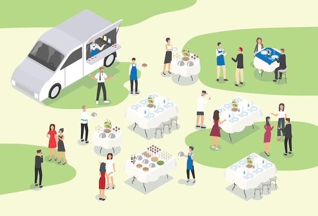 Personen, die catering bei formellen veranstaltungen oder anlässen anbieten Premium Vektoren