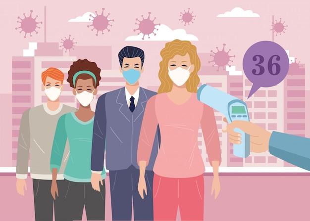 Personen, die gesichtsmasken im temperaturprüfpunkt für das covid19-illustrationsdesign verwenden