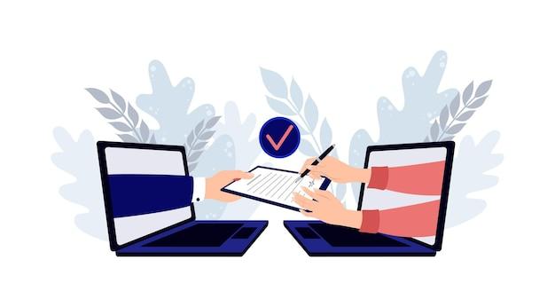 Personen, die papier und digitale verträge unterzeichnen, digitale nutzungsvereinbarung, die ein digitales dokument mit ausgewählten ...