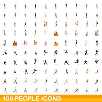 Personen icons gesetzt. karikaturillustration von personenikonen eingestellt auf weißem hintergrund