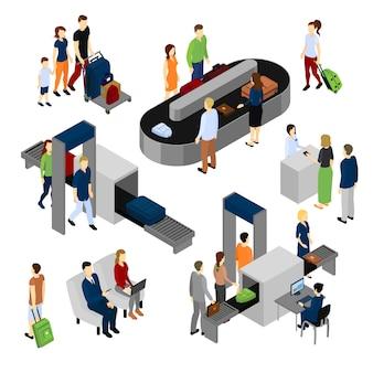 Personen im isometrischen set des flughafens