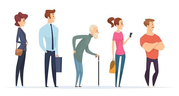 Personen in die warteschlange stellen. profilcharaktere männlich und weiblich, die in der linie stehen. illustrationswarteschlangenlinie, reihenmenschenmenge, männlich und weiblich