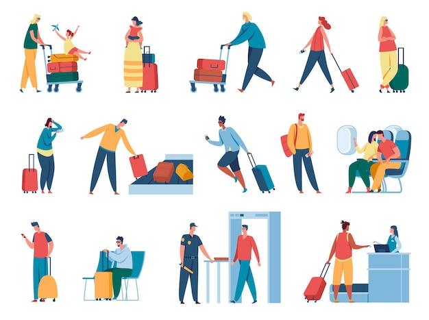 Personen in flughafenpassagieren bei der passkontrolle, die durch die sicherheitskontrolle gehen und auf den abflug des flugzeugs warten