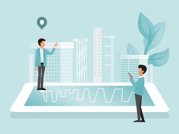 Personen suchen auf der route zum zielort durch online-karten-gps-navigation in der smartphone-app-illustration